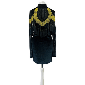 House Of Maguie Black And Gold Tassel Dress Size Small