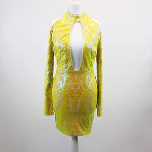 House Of Maguie Yellow Sequin Dress Size Small