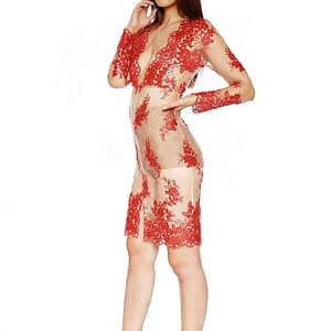 House Of Maguie Sheer Red Lace Dress