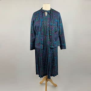Blue And Purple Dress And Jacket Two Piece Set Size 16