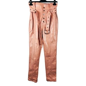 Salmon Faux Leather Trousers Size 6-8