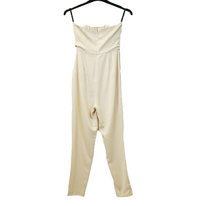 Pretty Little Thing Cream and Gold Sequin Jumpsuit Size 10