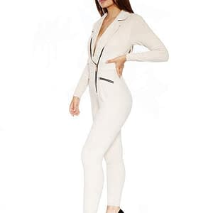 House Of Maguie Cream Suede Jumpsuit Size Small